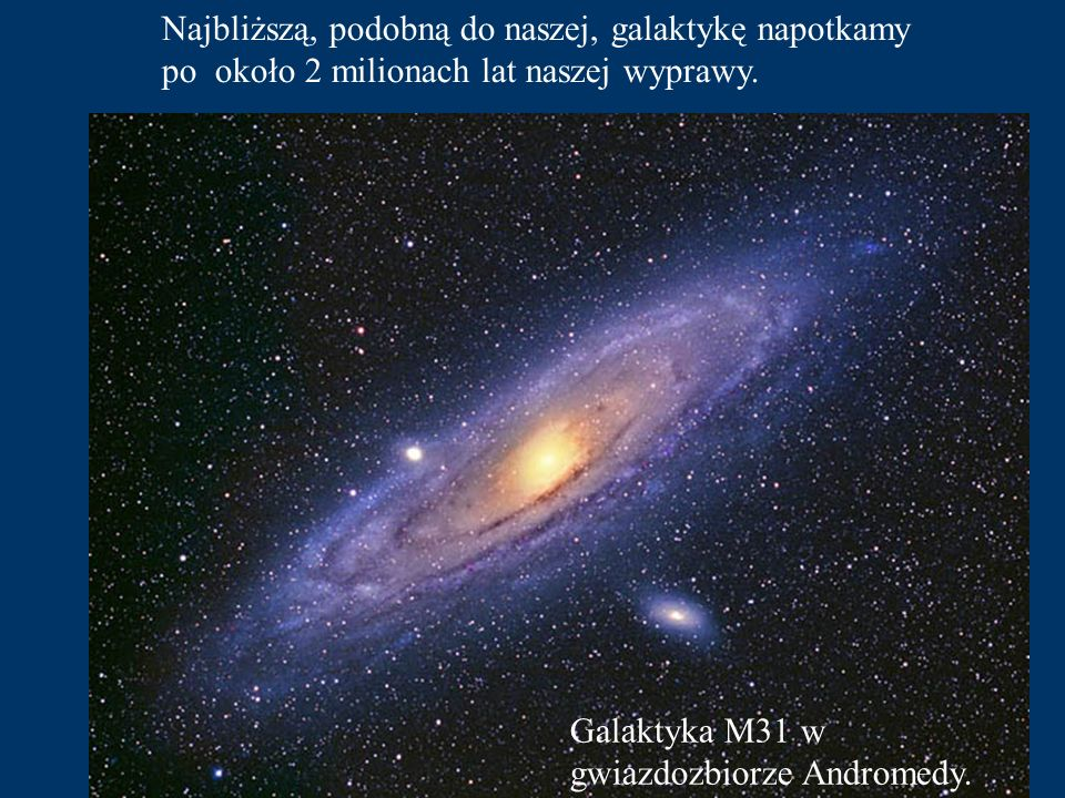 Najbliższą, podobną do naszej, galaktykę napotkamy po około 2 milionach lat naszej wyprawy.