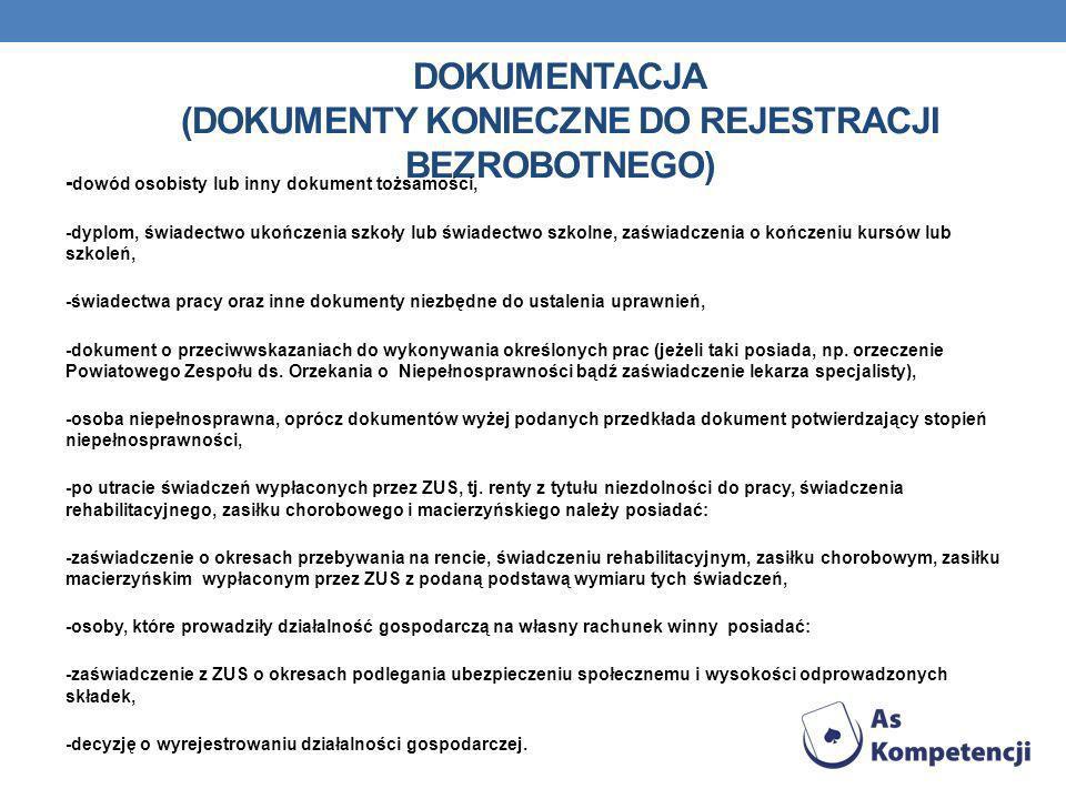 DOKUMENTACJA (Dokumenty konieczne do rejestracji BEZROBOTNEGO)