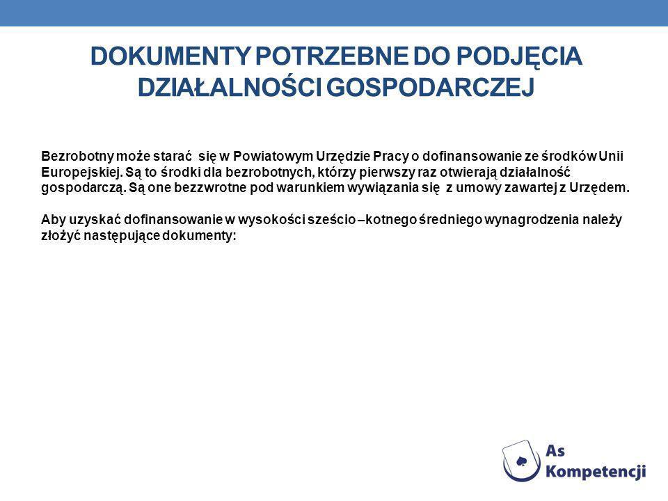 Dokumenty potrzebne do podjęcia działalności gospodarczej