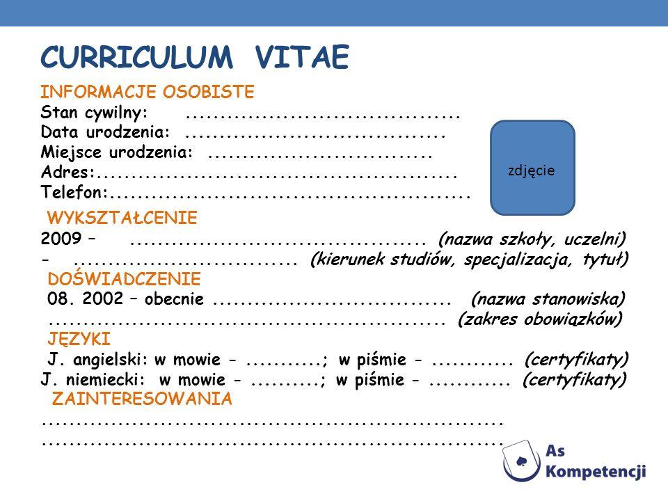 Curriculum VitaE Wykształcenie Informacje osobiste