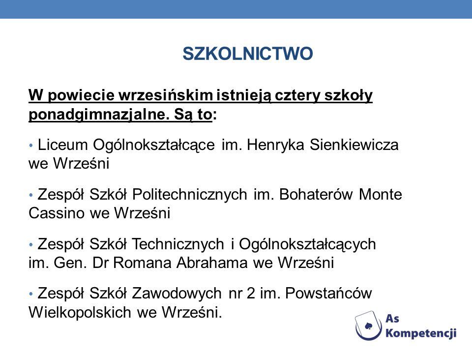 SZKOLNICTWO W powiecie wrzesińskim istnieją cztery szkoły ponadgimnazjalne. Są to: