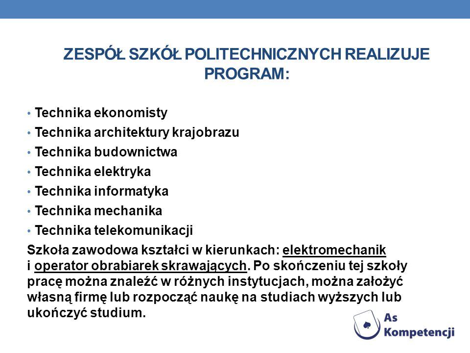 Zespół Szkół Politechnicznych realizuje program: