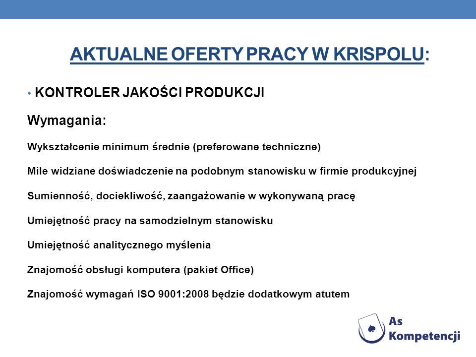 Aktualne oferty pracy W KRISPOLU: