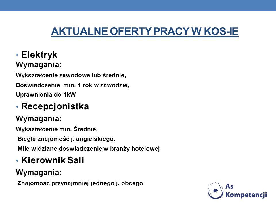AKTUALNE OFERTY PRACY W KOS-ie