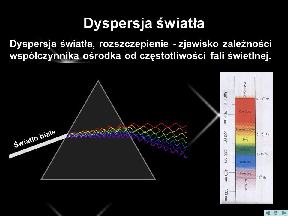 Dyspersja światła Dyspersja światła, rozszczepienie - zjawisko zależności współczynnika ośrodka od częstotliwości fali świetlnej.