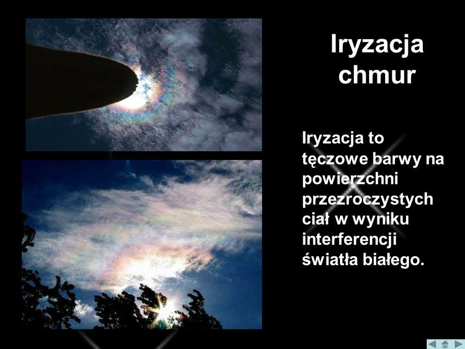 Iryzacja chmur Iryzacja to tęczowe barwy na powierzchni przezroczystych ciał w wyniku interferencji światła białego.