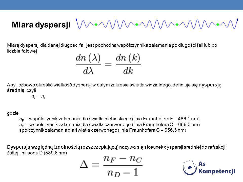 Miara dyspersjiMiarą dyspersji dla danej długości fali jest pochodna współczynnika załamania po długości fali lub po liczbie falowej.