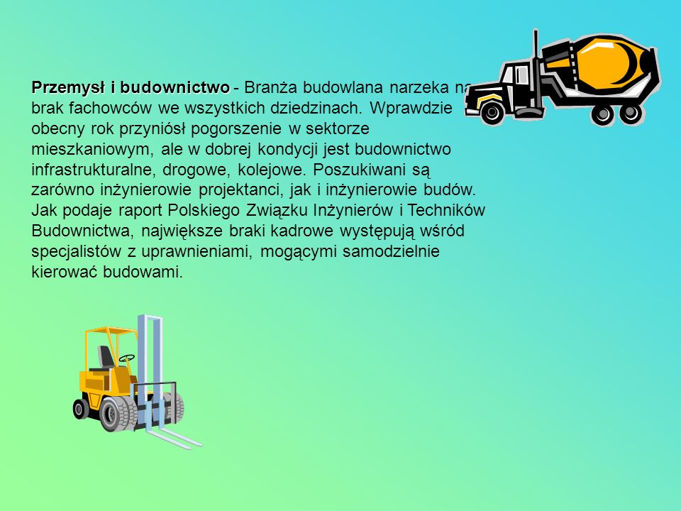 Przemysł i budownictwo - Branża budowlana narzeka na brak fachowców we wszystkich dziedzinach.