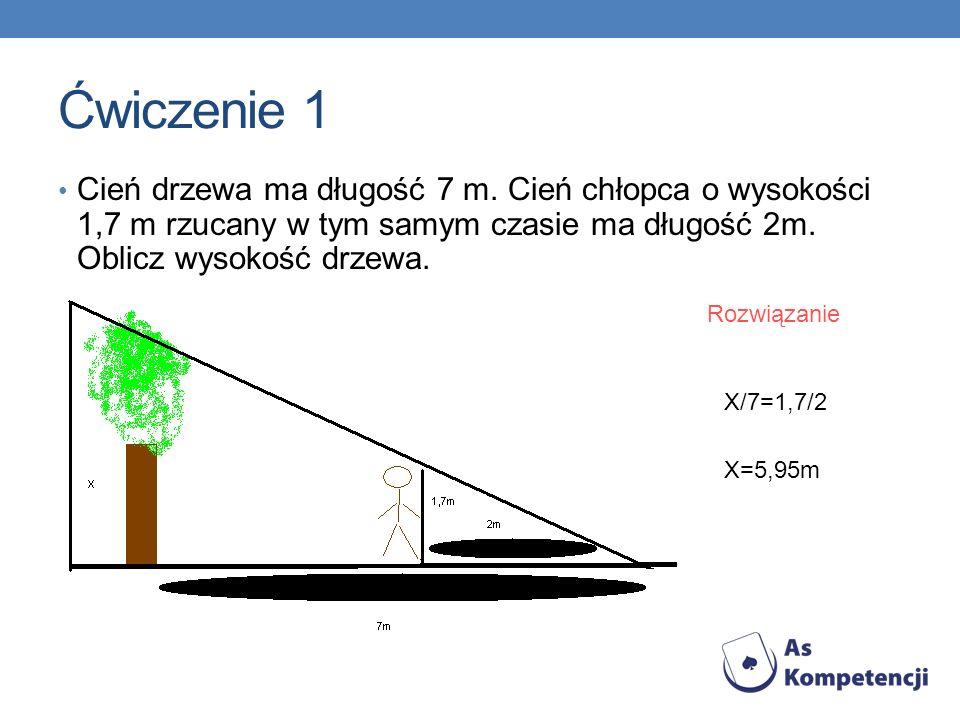 Ćwiczenie 1 Cień drzewa ma długość 7 m. Cień chłopca o wysokości 1,7 m rzucany w tym samym czasie ma długość 2m. Oblicz wysokość drzewa.