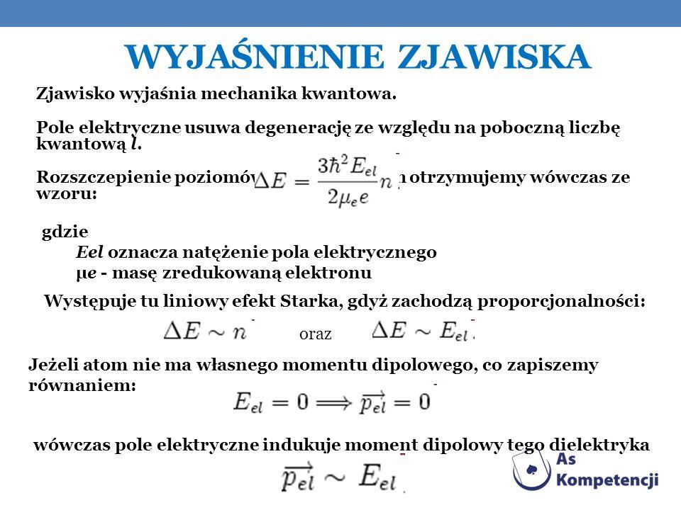 Wyjaśnienie zjawiska Zjawisko wyjaśnia mechanika kwantowa.