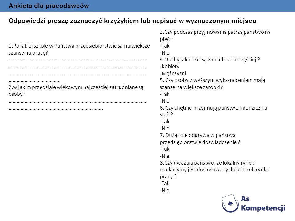 Ankieta dla pracodawców Odpowiedzi proszę zaznaczyć krzyżykiem lub napisać w wyznaczonym miejscu