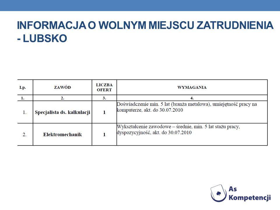 Informacja o wolnym miejscu zatrudnienia - Lubsko