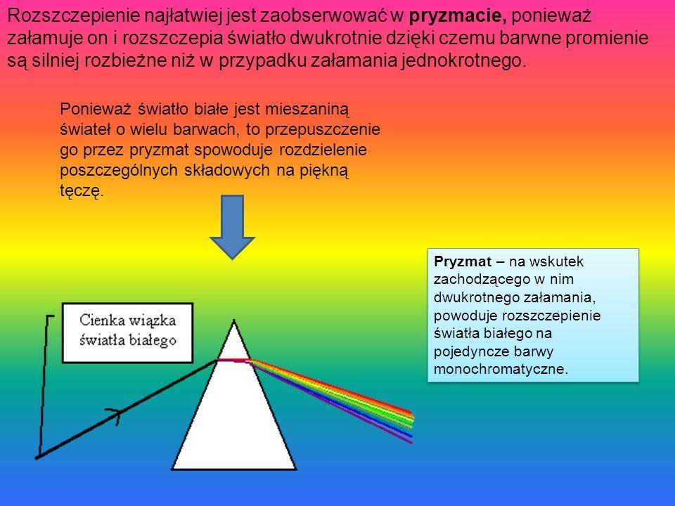 Rozszczepienie najłatwiej jest zaobserwować w pryzmacie, ponieważ załamuje on i rozszczepia światło dwukrotnie dzięki czemu barwne promienie są silniej rozbieżne niż w przypadku załamania jednokrotnego.
