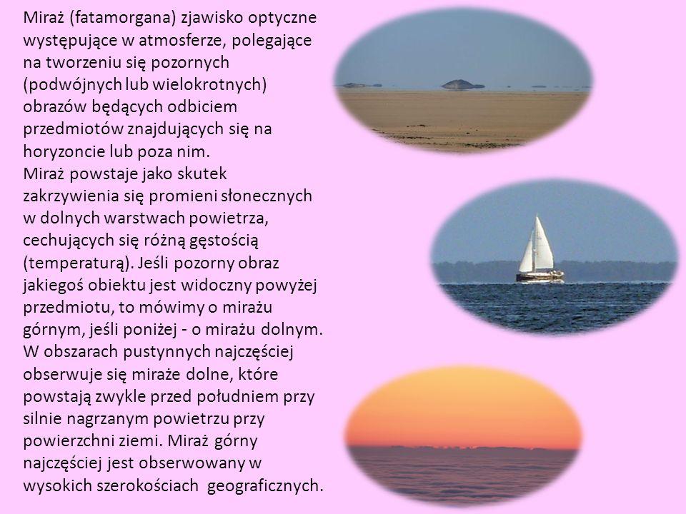Miraż (fatamorgana) zjawisko optyczne występujące w atmosferze, polegające na tworzeniu się pozornych (podwójnych lub wielokrotnych) obrazów będących odbiciem przedmiotów znajdujących się na horyzoncie lub poza nim.