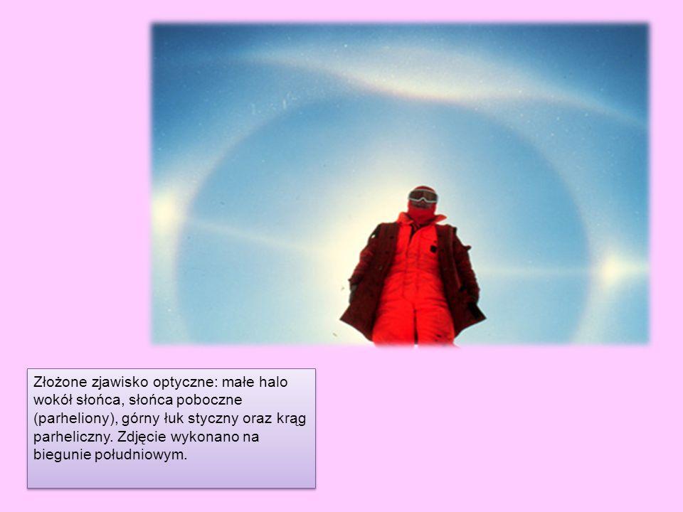 Złożone zjawisko optyczne: małe halo wokół słońca, słońca poboczne (parheliony), górny łuk styczny oraz krąg parheliczny.