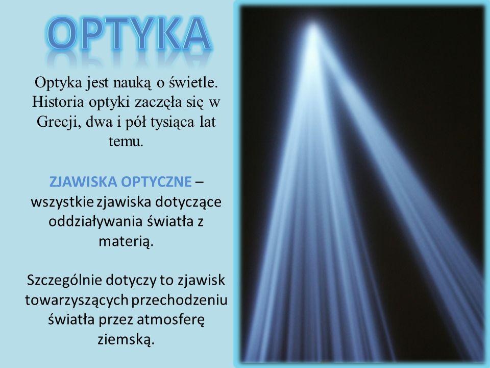 OPTYKA Optyka jest nauką o świetle. Historia optyki zaczęła się w Grecji, dwa i pół tysiąca lat temu.