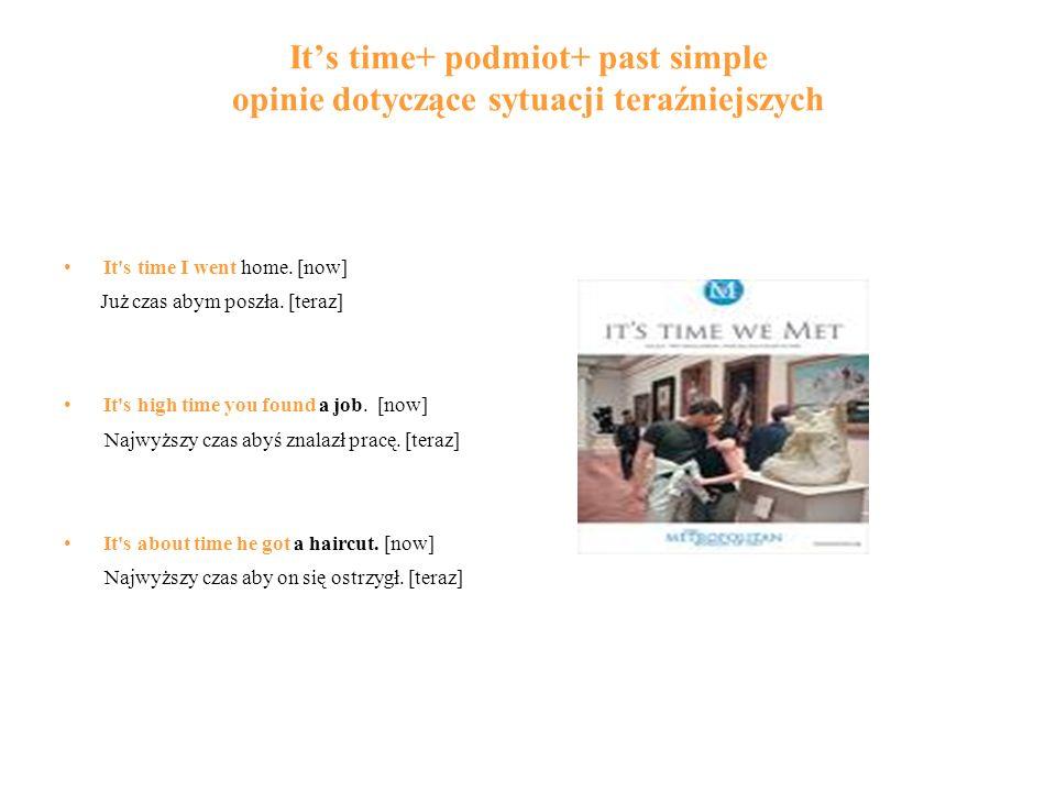 It's time+ podmiot+ past simple opinie dotyczące sytuacji teraźniejszych