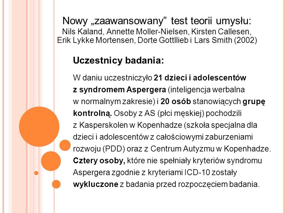 """Nowy """"zaawansowany test teorii umysłu: Nils Kaland, Annette Moller-Nielsen, Kirsten Callesen, Erik Lykke Mortensen, Dorte Gottllieb i Lars Smith (2002)"""