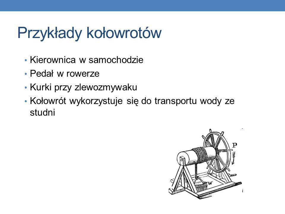 Przykłady kołowrotów Kierownica w samochodzie Pedał w rowerze