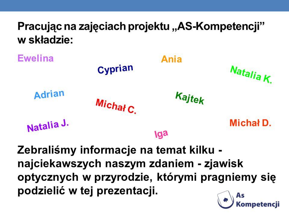 """Pracując na zajęciach projektu """"AS-Kompetencji w składzie:"""