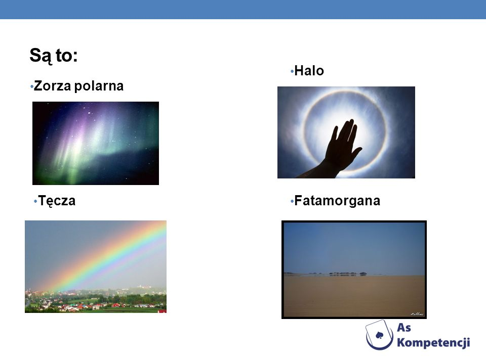 Są to: Halo Zorza polarna Tęcza Fatamorgana 5