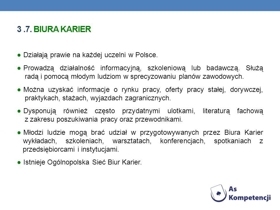 3 .7. BIURA KARIER Działają prawie na każdej uczelni w Polsce.