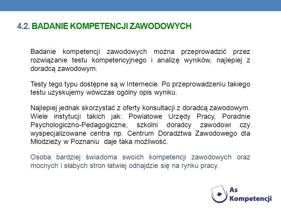 4.2. badanie kompetencji zawodowych