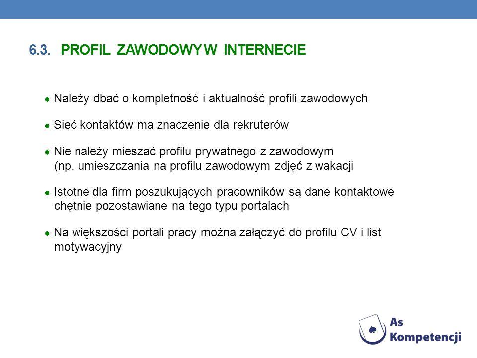6.3. profil zawodowy w Internecie