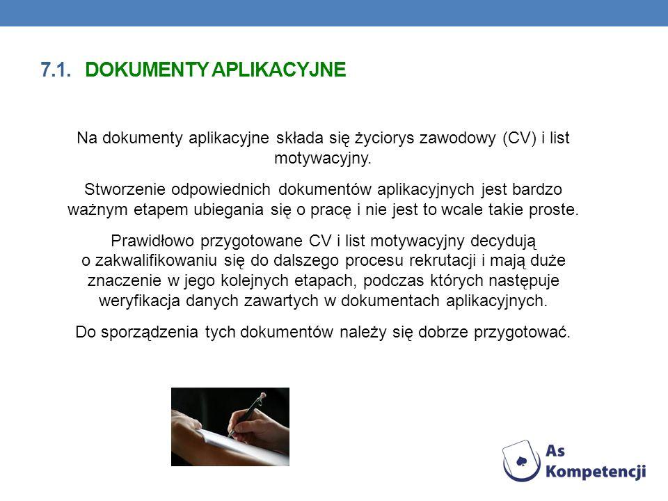 7.1. dokumenty aplikacyjne