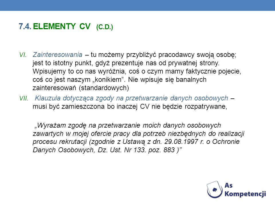 7.4. elementy cv (c.d.)