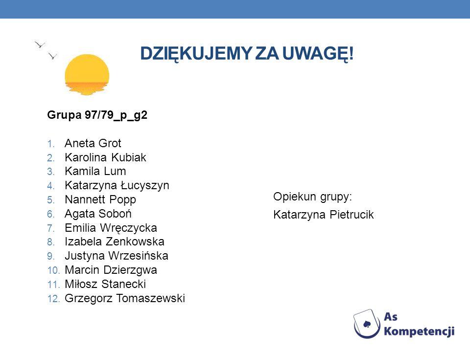 Dziękujemy za uwagę! Grupa 97/79_p_g2 Aneta Grot Karolina Kubiak