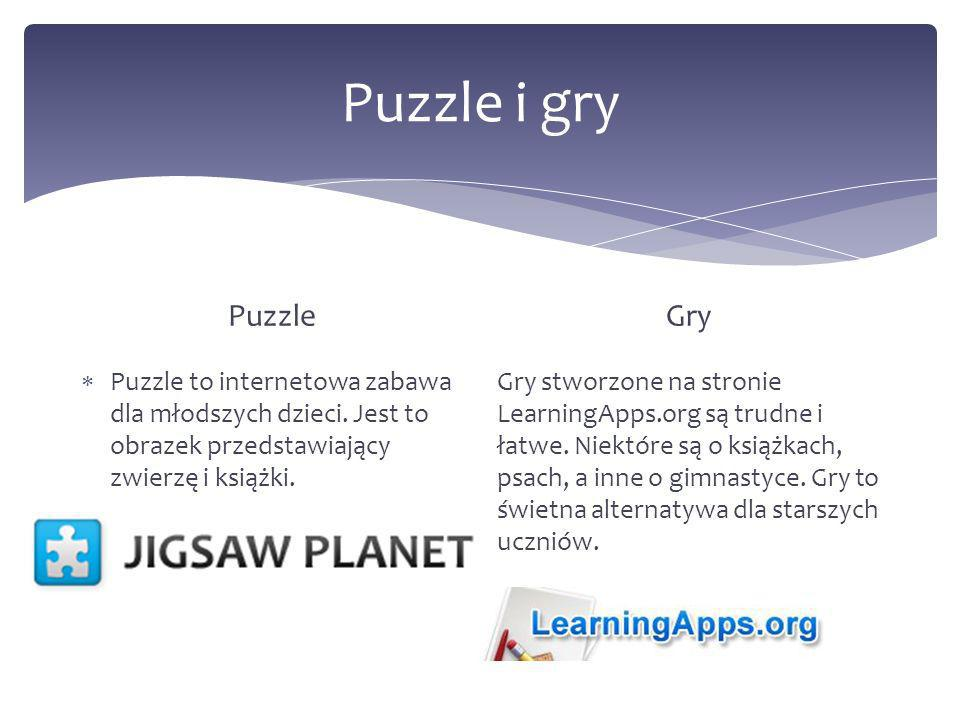 Puzzle i gry Puzzle. Gry. Puzzle to internetowa zabawa dla młodszych dzieci. Jest to obrazek przedstawiający zwierzę i książki.