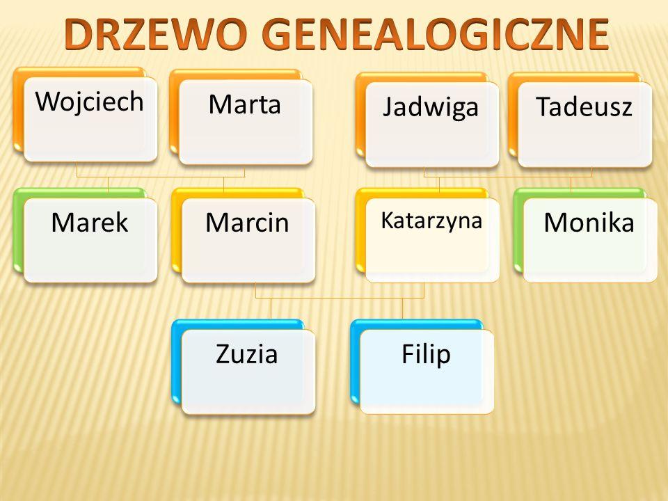 DRZEWO GENEALOGICZNE Marta Wojciech Jadwiga Tadeusz Marek Marcin