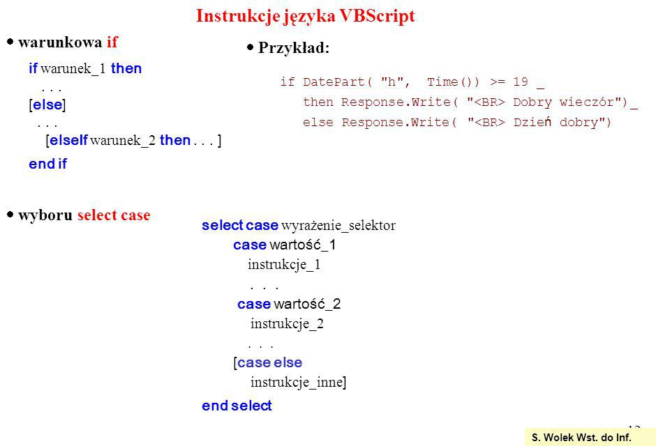 Instrukcje języka VBScript