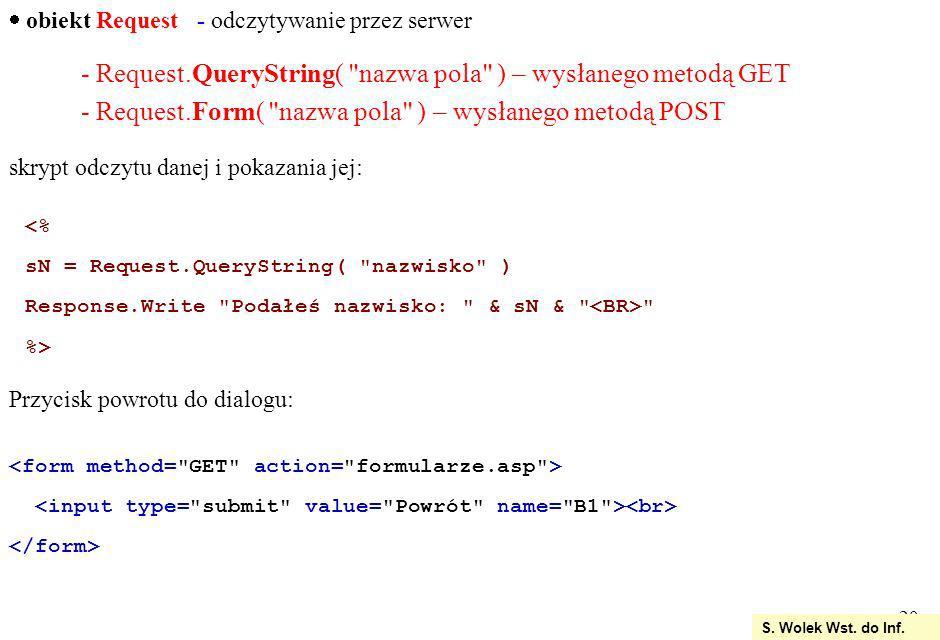 - Request.QueryString( nazwa pola ) – wysłanego metodą GET