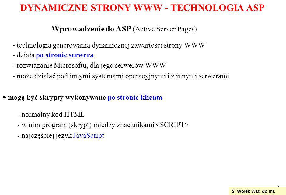 DYNAMICZNE STRONY WWW - TECHNOLOGIA ASP