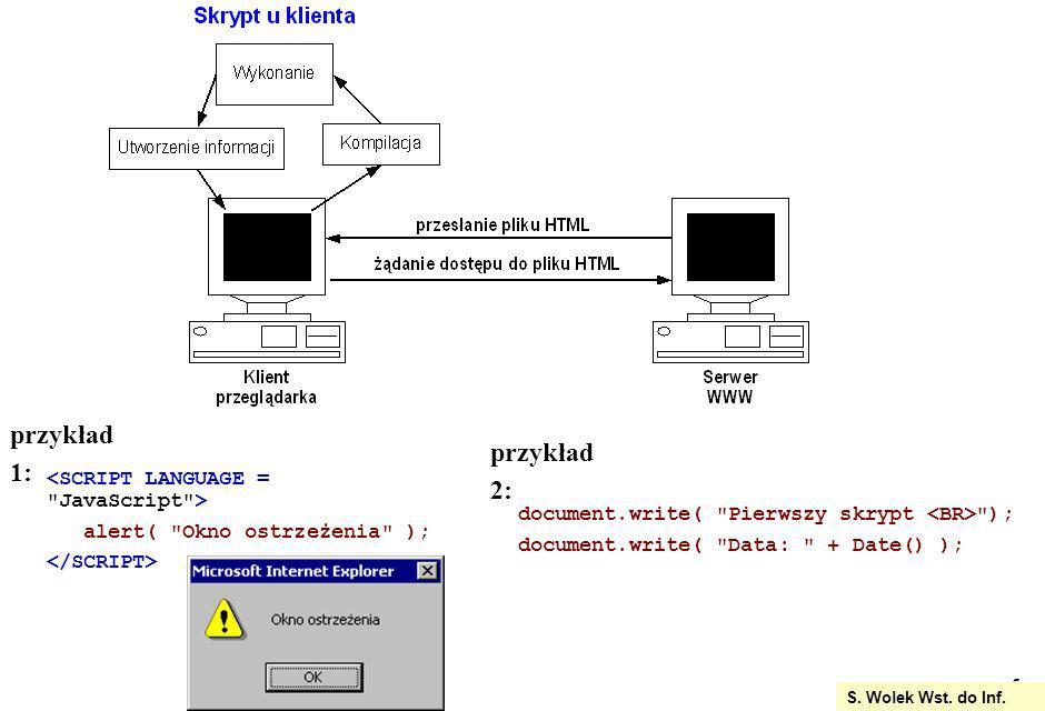 przykład 1: przykład 2: <SCRIPT LANGUAGE = JavaScript >