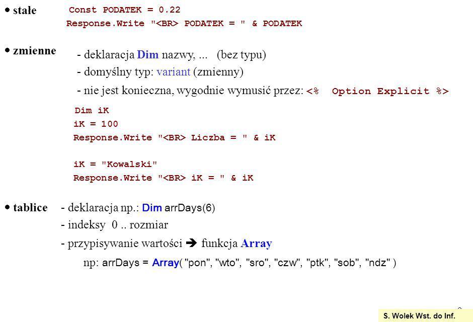 deklaracja Dim nazwy, ... (bez typu) domyślny typ: variant (zmienny)