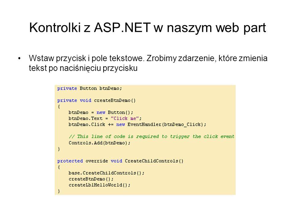 Kontrolki z ASP.NET w naszym web part