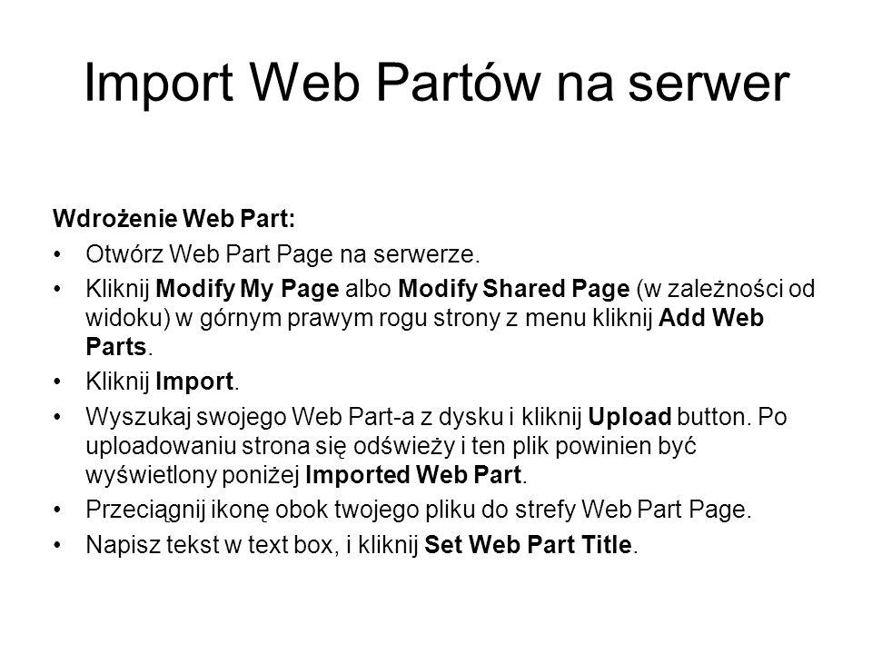 Import Web Partów na serwer