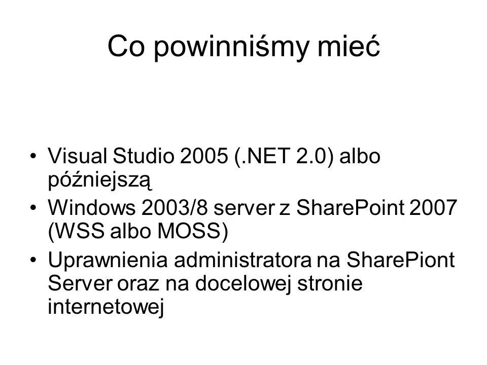 Co powinniśmy mieć Visual Studio 2005 (.NET 2.0) albo późniejszą