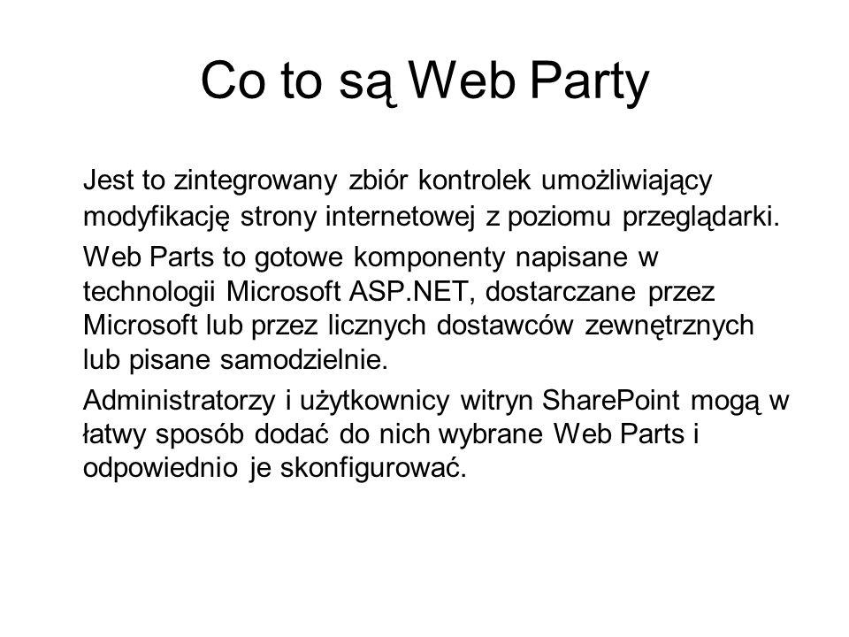 Co to są Web PartyJest to zintegrowany zbiór kontrolek umożliwiający modyfikację strony internetowej z poziomu przeglądarki.