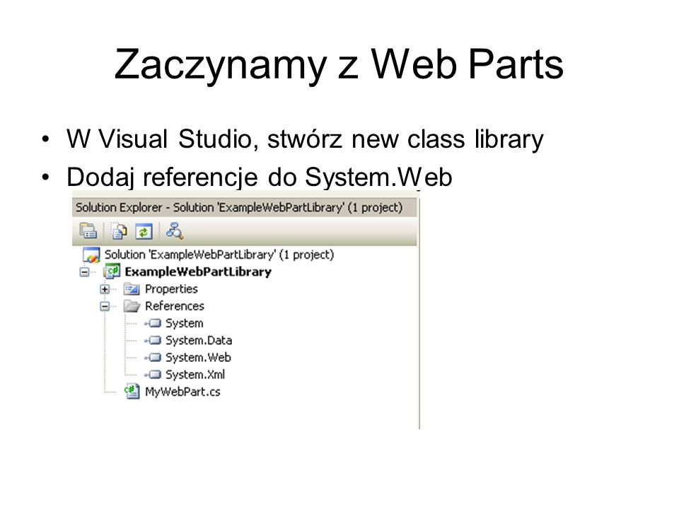 Zaczynamy z Web Parts W Visual Studio, stwórz new class library