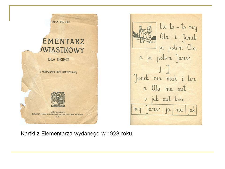 Kartki z Elementarza wydanego w 1923 roku.