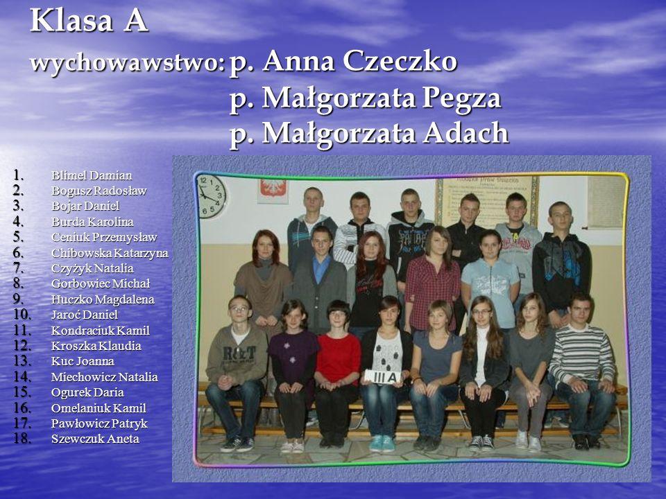 Klasa A wychowawstwo:. p. Anna Czeczko. p. Małgorzata Pegza. p