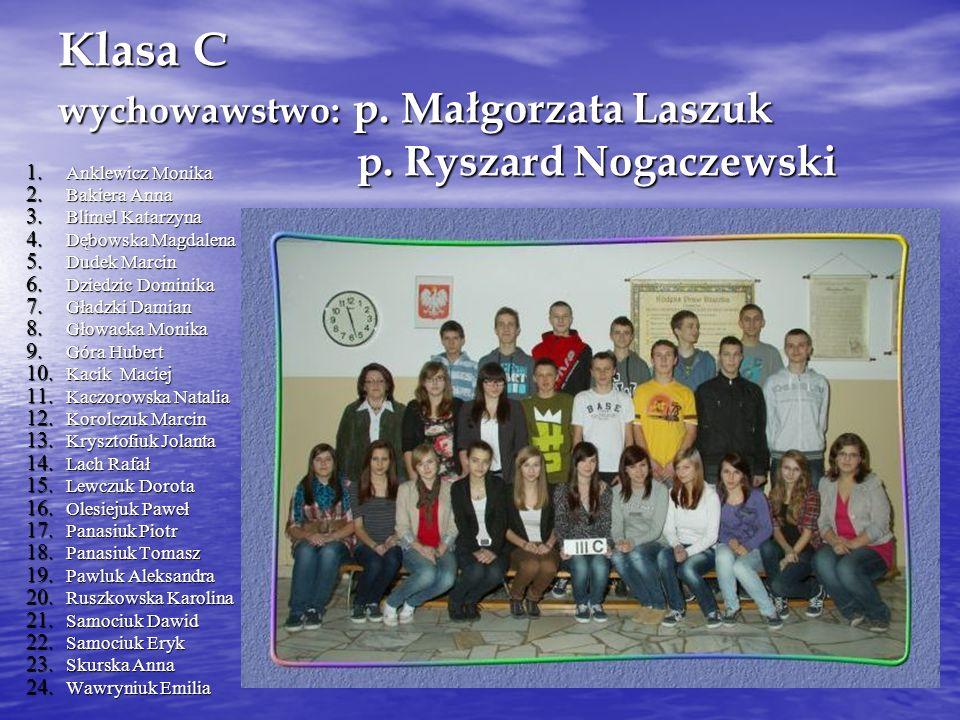 Klasa C wychowawstwo: p. Małgorzata Laszuk p. Ryszard Nogaczewski