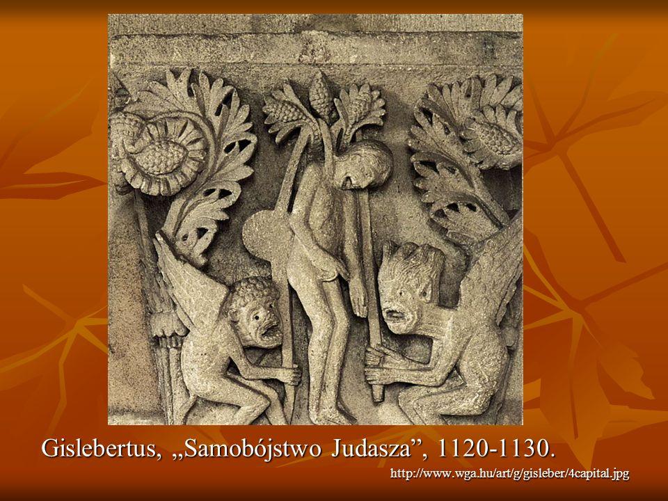 """Gislebertus, """"Samobójstwo Judasza , 1120-1130."""