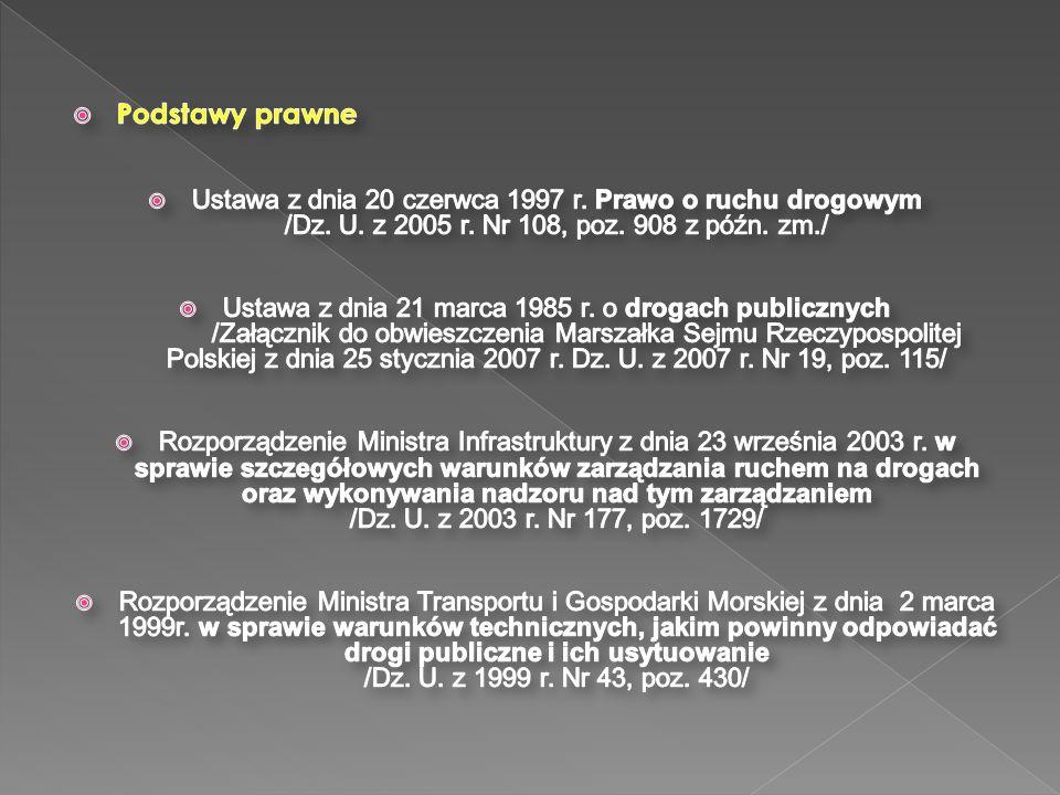 Podstawy prawne Ustawa z dnia 20 czerwca 1997 r. Prawo o ruchu drogowym /Dz. U. z 2005 r. Nr 108, poz. 908 z późn. zm./