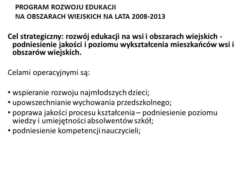 PROGRAM ROZWOJU EDUKACJI NA OBSZARACH WIEJSKICH NA LATA 2008-2013