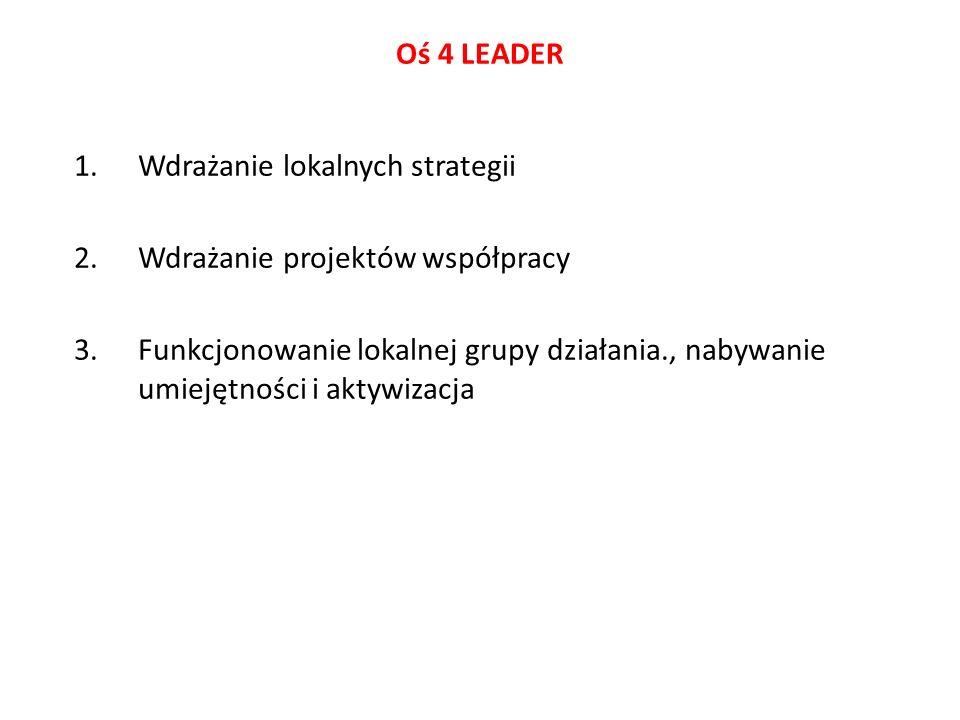 Oś 4 LEADER Wdrażanie lokalnych strategii. Wdrażanie projektów współpracy.